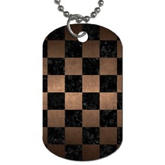 Square1 Black Marble & Bronze Metal Dog Tag (one Side) by trendistuff