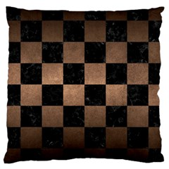 Square1 Black Marble & Bronze Metal Large Cushion Case (two Sides) by trendistuff