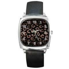 Skin5 Black Marble & Bronze Metal (r) Square Metal Watch by trendistuff