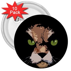 Cat  3  Buttons (10 Pack)  by Valentinaart