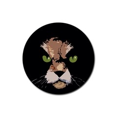 Cat  Rubber Round Coaster (4 Pack)  by Valentinaart