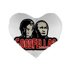 Goodfellas Putin And Trump Standard 16  Premium Flano Heart Shape Cushions by Valentinaart