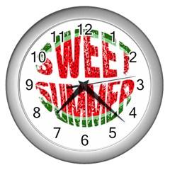 Watermelon   Sweet Summer Wall Clocks (silver)  by Valentinaart