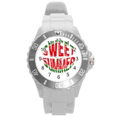 Watermelon   Sweet Summer Round Plastic Sport Watch (l) by Valentinaart