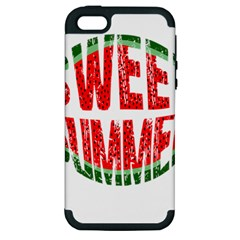 Watermelon   Sweet Summer Apple Iphone 5 Hardshell Case (pc+silicone) by Valentinaart