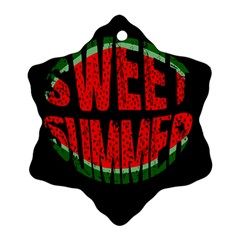 Watermelon   Sweet Summer Ornament (snowflake) by Valentinaart
