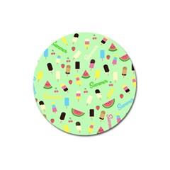 Summer Pattern Magnet 3  (round) by Valentinaart