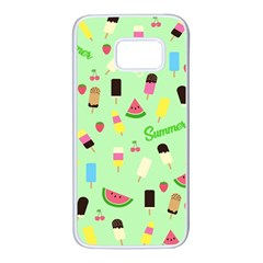 Summer Pattern Samsung Galaxy S7 White Seamless Case by Valentinaart