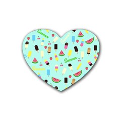Summer Pattern Rubber Coaster (heart)  by Valentinaart