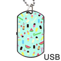 Summer Pattern Dog Tag Usb Flash (one Side) by Valentinaart