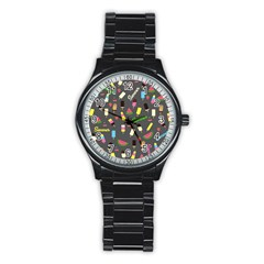 Summer Pattern Stainless Steel Round Watch by Valentinaart