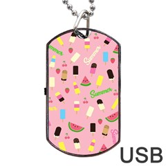 Summer Pattern Dog Tag Usb Flash (two Sides) by Valentinaart