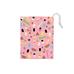 Summer Pattern Drawstring Pouches (small)  by Valentinaart