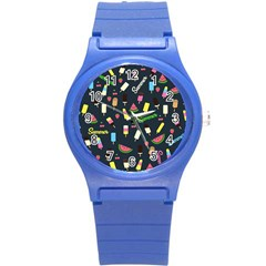 Summer Pattern Round Plastic Sport Watch (s) by Valentinaart
