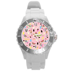 Summer Pattern Round Plastic Sport Watch (l) by Valentinaart