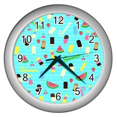 Summer Pattern Wall Clocks (silver)  by Valentinaart