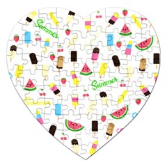 Summer Pattern Jigsaw Puzzle (heart) by Valentinaart