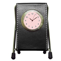 Blush Pink Pen Holder Desk Clocks by SimplyColor