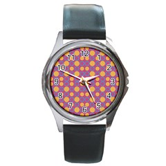 Colorful Geometric Polka Print Round Metal Watch by dflcprints