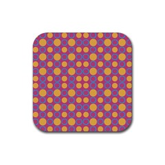 Colorful Geometric Polka Print Rubber Coaster (square)  by dflcprints