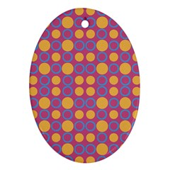 Colorful Geometric Polka Print Oval Ornament (two Sides) by dflcprints