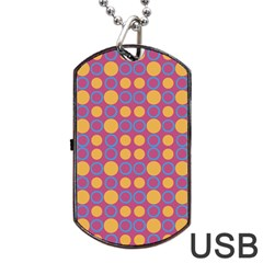 Colorful Geometric Polka Print Dog Tag Usb Flash (one Side) by dflcprints