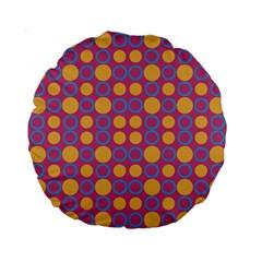 Colorful Geometric Polka Print Standard 15  Premium Round Cushions by dflcprints
