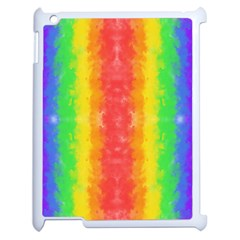 Striped Painted Rainbow Apple Ipad 2 Case (white) by Brini