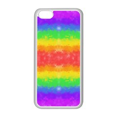 Striped Painted Rainbow Apple Iphone 5c Seamless Case (white) by Brini
