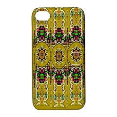 Rainbow And Stars Coming Down In Calm  Peace Apple Iphone 4/4s Hardshell Case With Stand by pepitasart