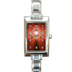 Liquid Sunset, A Beautiful Fractal Burst Of Fiery Colors Rectangle Italian Charm Watch by beautifulfractals