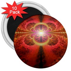 Liquid Sunset, A Beautiful Fractal Burst Of Fiery Colors 3  Magnets (10 Pack)  by beautifulfractals