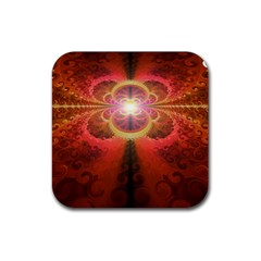 Liquid Sunset, A Beautiful Fractal Burst Of Fiery Colors Rubber Coaster (square)  by jayaprime
