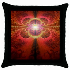 Liquid Sunset, A Beautiful Fractal Burst Of Fiery Colors Throw Pillow Case (black) by jayaprime