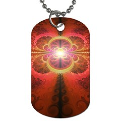 Liquid Sunset, A Beautiful Fractal Burst Of Fiery Colors Dog Tag (one Side) by jayaprime
