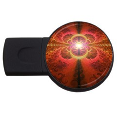 Liquid Sunset, A Beautiful Fractal Burst Of Fiery Colors Usb Flash Drive Round (4 Gb) by jayaprime
