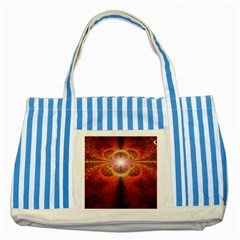 Liquid Sunset, A Beautiful Fractal Burst Of Fiery Colors Striped Blue Tote Bag