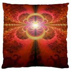 Liquid Sunset, A Beautiful Fractal Burst Of Fiery Colors Large Cushion Case (one Side)
