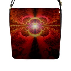 Liquid Sunset, A Beautiful Fractal Burst Of Fiery Colors Flap Messenger Bag (l)  by jayaprime
