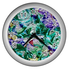 Floral Chrome 01b Wall Clocks (silver)  by MoreColorsinLife