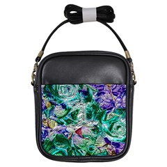 Floral Chrome 01b Girls Sling Bags by MoreColorsinLife