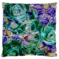 Floral Chrome 01b Large Flano Cushion Case (one Side) by MoreColorsinLife