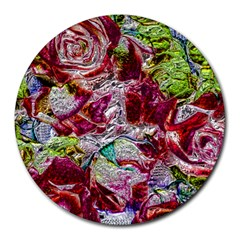 Floral Chrome 01c Round Mousepads by MoreColorsinLife