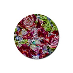 Floral Chrome 01c Rubber Coaster (round)  by MoreColorsinLife