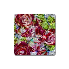 Floral Chrome 01c Square Magnet by MoreColorsinLife