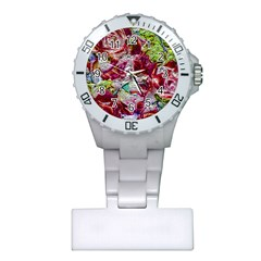 Floral Chrome 01c Plastic Nurses Watch by MoreColorsinLife