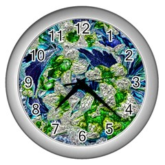 Floral Chrome 2a Wall Clocks (silver)  by MoreColorsinLife