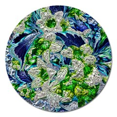 Floral Chrome 2a Magnet 5  (round) by MoreColorsinLife