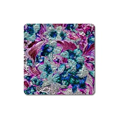 Floral Chrome 2c Square Magnet by MoreColorsinLife