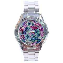 Floral Chrome 2c Stainless Steel Analogue Watch by MoreColorsinLife